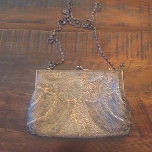 Vintage La Regale Silver Beaded Evening Bag
